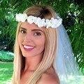 2016 Mulheres Mais Novo Casamento Headband Do Partido Dos Miúdos meninas flor guirlandas Florais com Fita Ajustável coroa Coroa de Flores Rosa 1 PC
