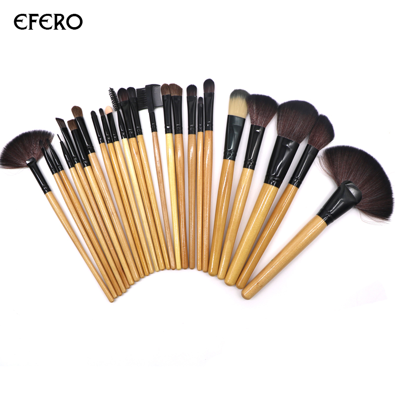 2 Set efero Makeup Brushes Kit Professional Powder Brush Eye Shadow Beauty Make Up Tools Soft Synthetic Hair Cosmetics Brushes h01 professional makeup brushes squirrel hair sokouhou goat hair powder brush walnut wood handle cosmetic tools make up brush