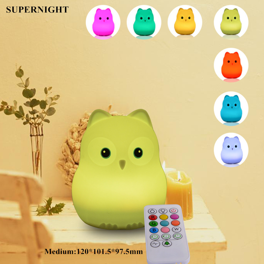 Owl Bird Hippo LED Night Light Touch Sensor 9 Colors Remote Control Timer Silicone USB Charging Children Bedroom Bedside Lamp