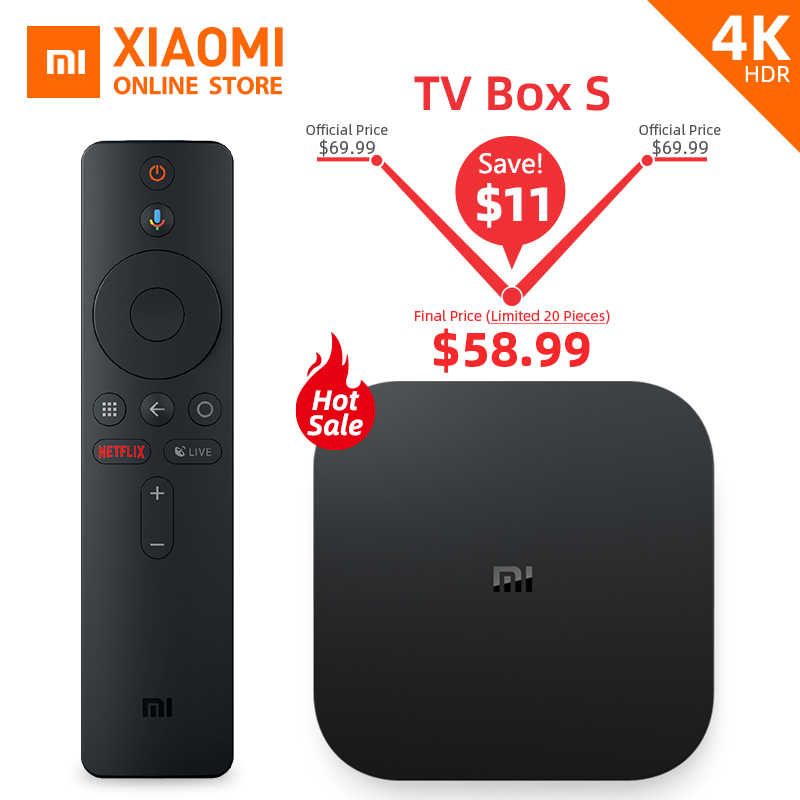 Глобальная версия Xiaomi Mi tv BOX S Smart 4 K Ultra HD 2G 8G Android 8,1 wifi Google Cast Netflix медиаплеер IP tv Set top Box