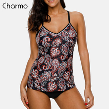 Charmo Women Two Piece Swimsuit Tankini Set Swimwear Vintage Floral Print Swimsuit Back Cross Bikini Bathing Suit Beach Wear lunamy 2018 new floral print two piece swimsuit women swimsuit female sexy backless bikini set beach bathing suit with pants