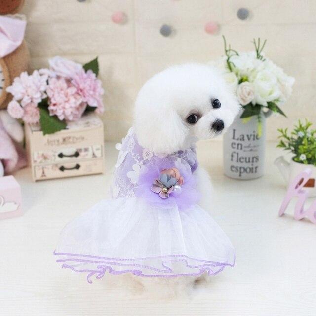 Summer Cute Fl White Lace Dog Puppy Luxury Dress Pet Cat Tutu Skirt Princess Wedding