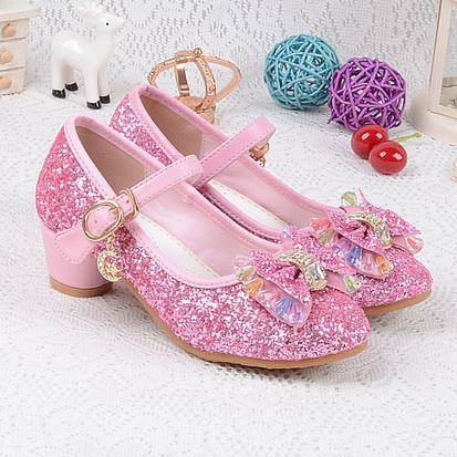 Girls Wedding Shoes Enfants 2016 Baby Children's Sequins Princess Kids High Heels Dress Party Shoes For Girls Pink Blue Gold 540