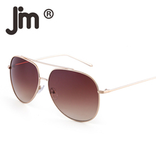 JM Wholesale 10pcs/Lot Bulk Sale Retro Double Bridge Stainless Steel Sunglasses Gradient Lenses Sun Glasses