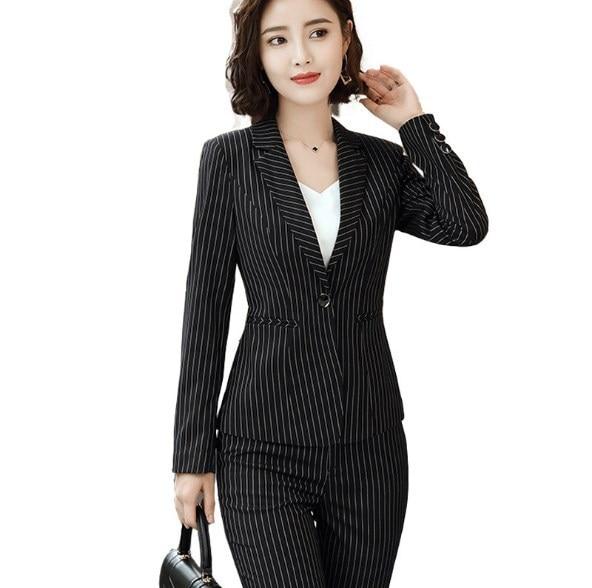 Black Red Blue Striped Pants Suits For Women 2 Piece Set Korean Blazer Trouser Suits Office Ladies Two Piece Pantsuit Outfits