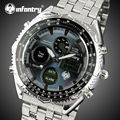 INFANTRY Watches Men Top Brand Luxury Analog Digital Watches Relogio Full Steel Back Light Military Wristwatches Alarm Clock