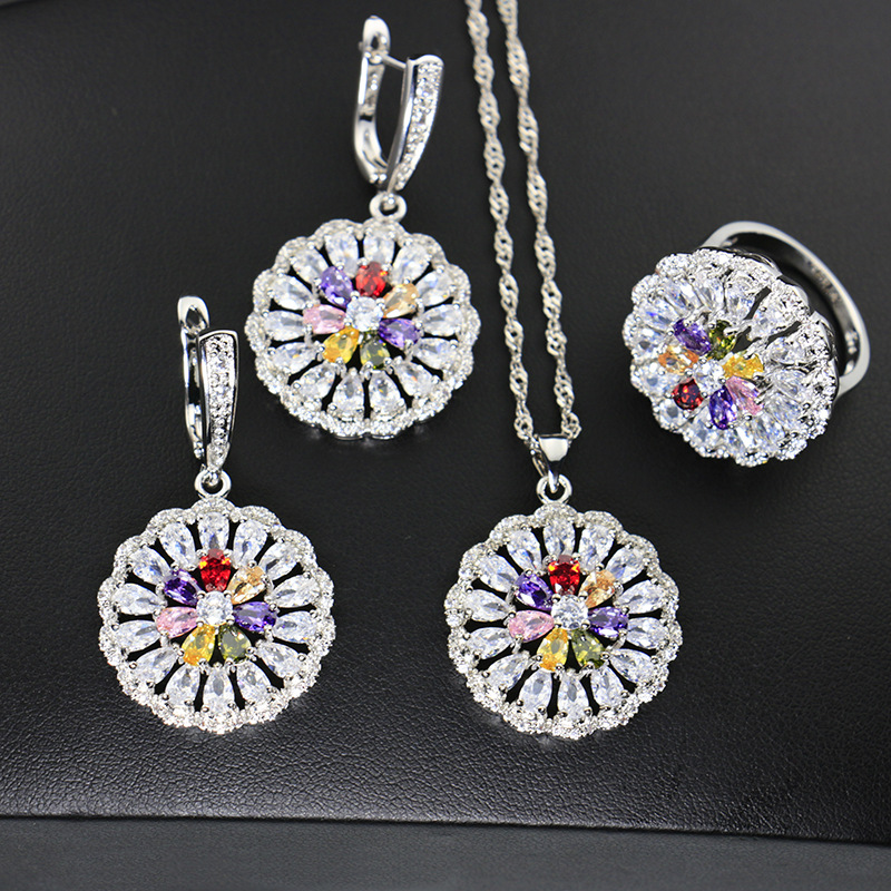 US $12 75 49% OFF|Hyperbole Zircon Stone White CZ 925 Sterling Silver  Jewelry Sets For Women Party Earrings/Pendant/Necklace/Rings-in Bridal  Jewelry