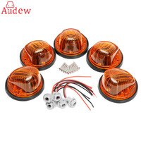 5Pcs Cab Roof Marker Light Round Cover With Car Light Base Black Amber For 73 87
