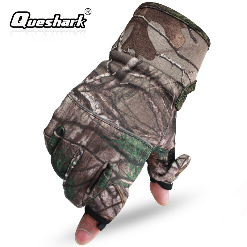 Camo Fishing Gloves Hunting Gloves Anti-Slip 2 Fingers Cut Outdoor Camping Cycling Half Finger Sport Gloves Camouflage