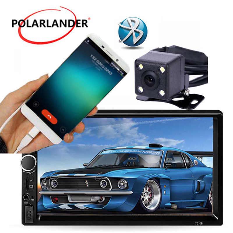 7 Inch Bluetooth Sentuh Layar Mobil Radio Audio Stereo MP5 Pemain MP4 Auto 2 Din AUX FM USB TF dengan kamera Belakang Belakang Cermin Link