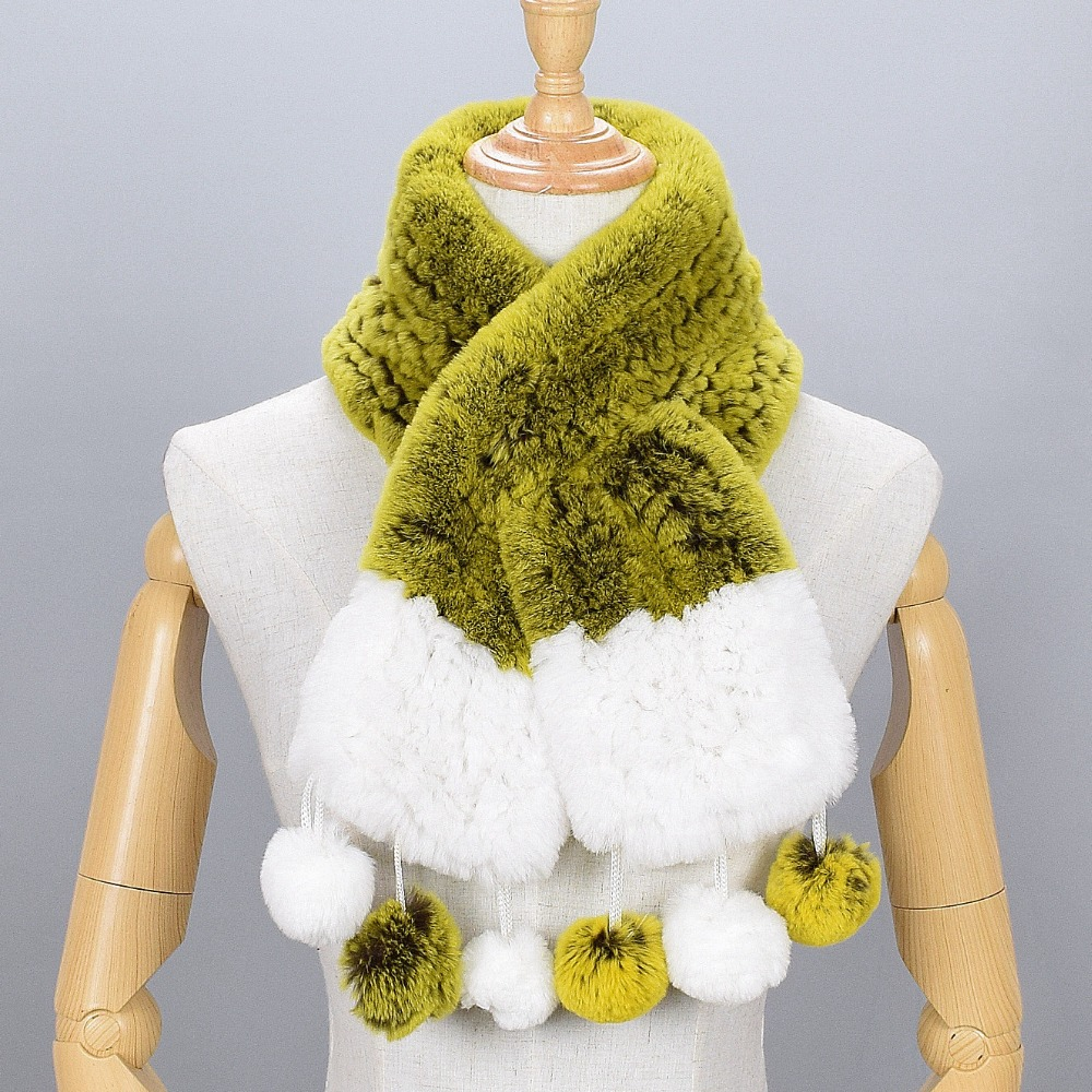 JKP 2018 Fringe fur ball scarf girls fashion scarf winter warm Rex fur scarf braided tassel ball free shipping ZPC-340