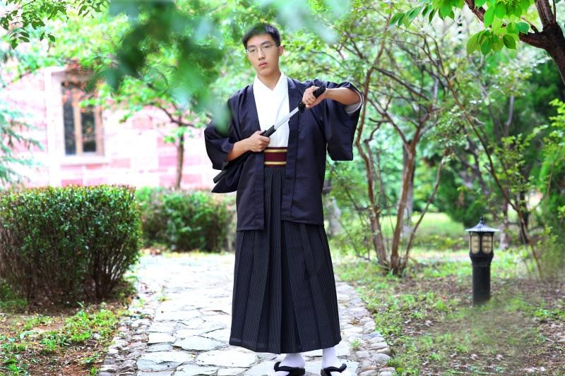 Japanese Men's Autumn And Winter New Line Of Lamp Dress Samurai Kimono Suit