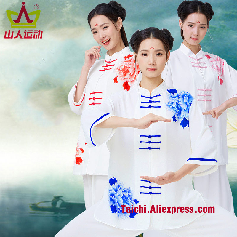 Printing Woman And Men Tai Chi Uniform Rayon Martial Art Performance Clothing Short And Long Sleeves Free Shipping