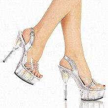 Elegant Princess Style 15cm Black High Heel Shoes Platform Sandals Pole Dance Shoes Wedding Shoes Dress