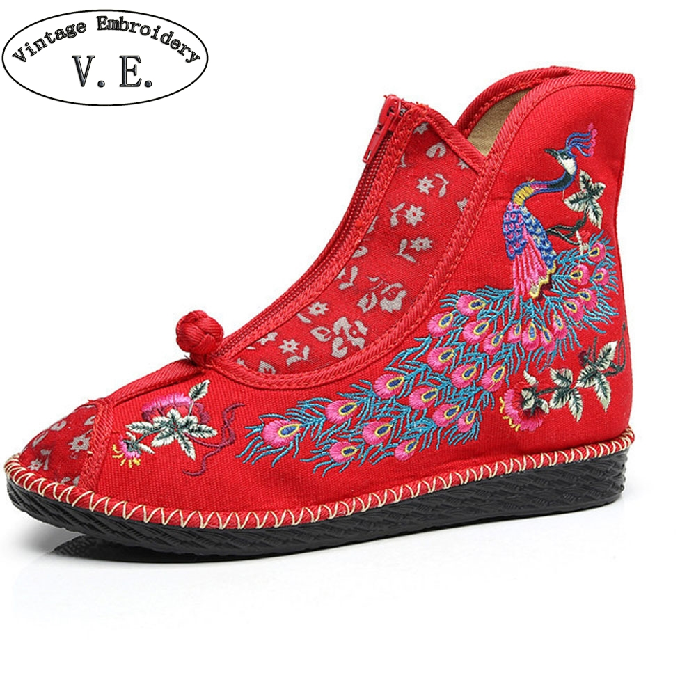 Autumn Winter Chinese Women Boots Peacock Embroidered Ethnic Ankle Boots Woman Brathable Ladies Platform Shoes Zapato Mujer ethnic embroidered black cami dress for women