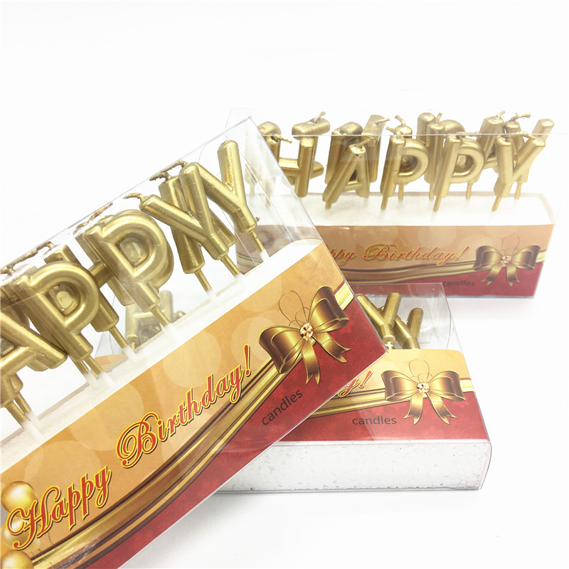 Gold Happy Birthday Festival Supplies Lovely English Birthday Candles for Kitchen Baking Gift Cake Birthday Party in Cake Decorating Supplies from Home Garden