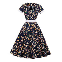Sisjuly Summer Women Print Dress Female Dark Blue Floral Dresses Short Sleeve Knee Length Hollow Female