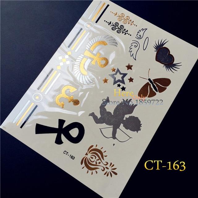 25 Stijl Ontwerp Gold Angel Wing Tattoo Cupido Hct163 Flash Metallic