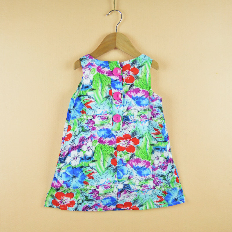 2017 Fashion Ink Painting Baby Girls Dresses Children Clothing Sleeveless Wrinkle Flower Dress Cotton Girl Clothes Kid jumper