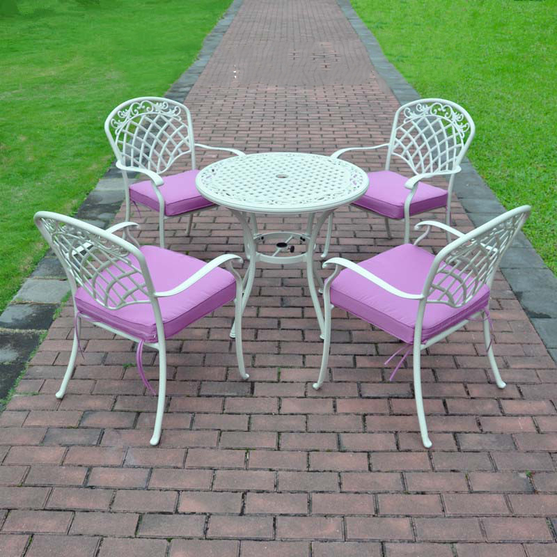 Pink Garden Furniture 4 piece butterfly cast aluminum dining chair and table patio 5 piece best selling cast aluminum table and chair outdoor furniture elegant and fashion workwithnaturefo