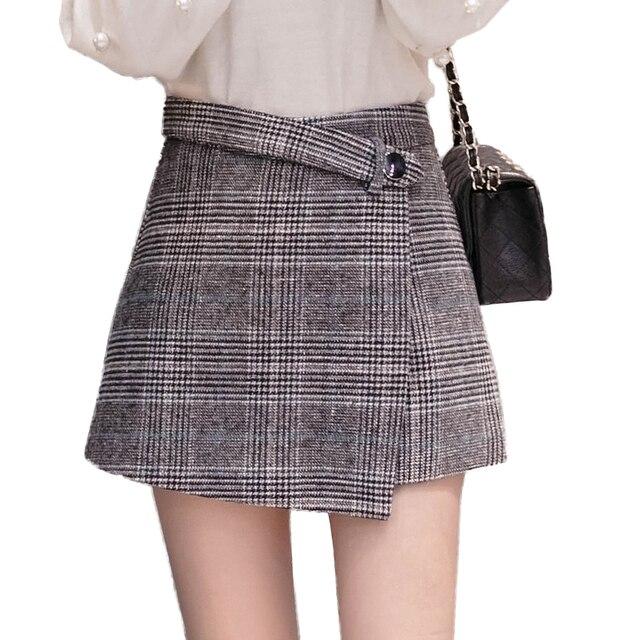 f034186988e 2018 Woolen shorts women autumn winter high waist plaid skirt shorts  elegant office wide leg irregular