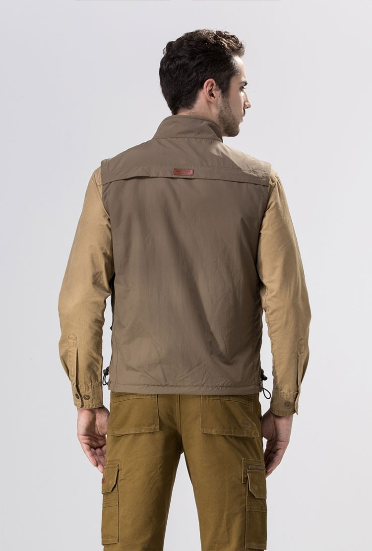 2015 Autumn Spring Casual Men Vest Coat Fleece AFS JEEP Cotton Multi Pocket 4XL Cargo Outdoor Sleeveless Jackets Waistcoat Vests (8)