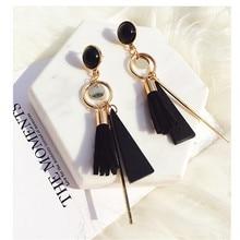 फैशन महिला Tassel Multilayer Pnedant बालियां आकर्षण प्यारा नकली काले मोती ड्रॉप Earring बोहेमिया महिला उपहार के लिए