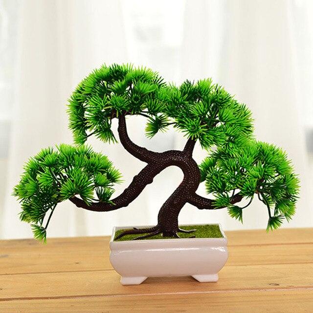 Новинка 2017 года Творческий Пластик искусственные растения Цветок  Карликовые деревья дерево горшка культуры для домашнего офиса 789e888e70c