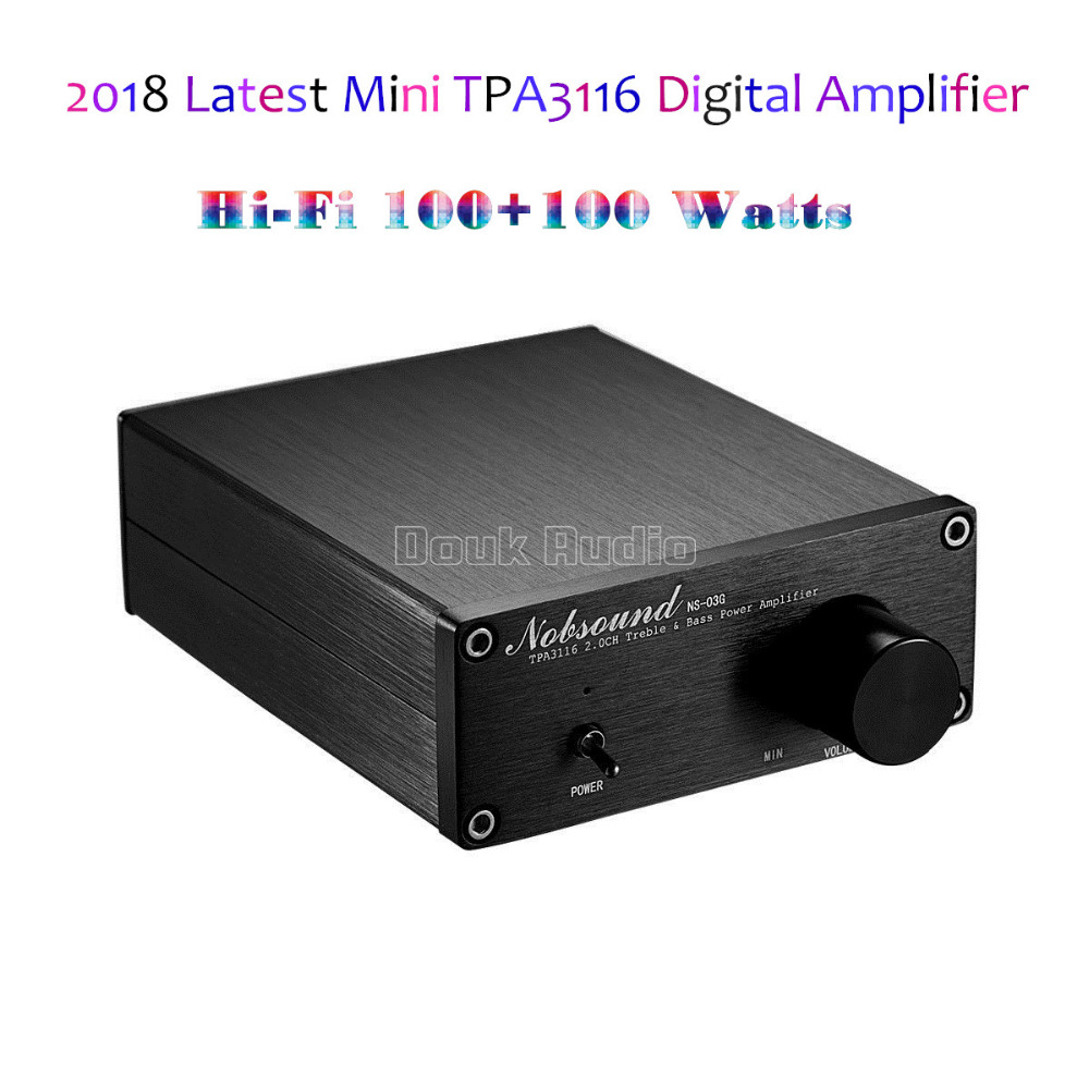 2018 New Nobsound 200 Watts Mini HiFi Power Amplifier Digital Audio Stereo Music Amp Dual-channel Black Chassis 2018 latest nobsound mini digital audio power amplifier hifi tpa3116 stereo music 2 channel 100w 2 black chassis