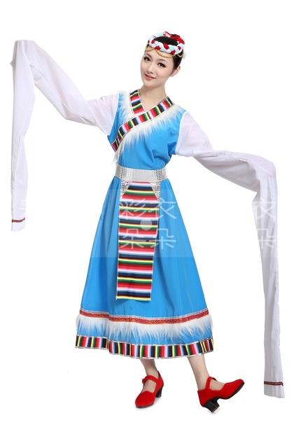 Multicolor Vestido de la Danza Traje de la Danza de ropa Étnica manga alargado Tibetano Tibetano Chino folk dance
