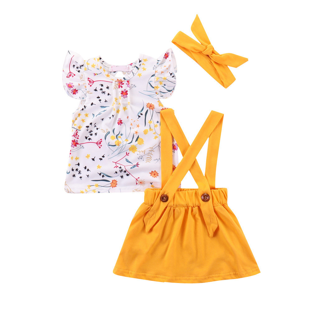 Humor Bear Summer Baby Girls Summer New Clothes Suit Fly Sleeve T-shirt Tops+Floral Skirt+Headband Kids Party Princess Clothing 9