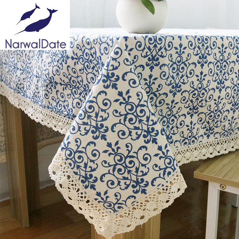 blue floral table cloth printed tablecloths table cloth for wedding party home table linen cloth cover