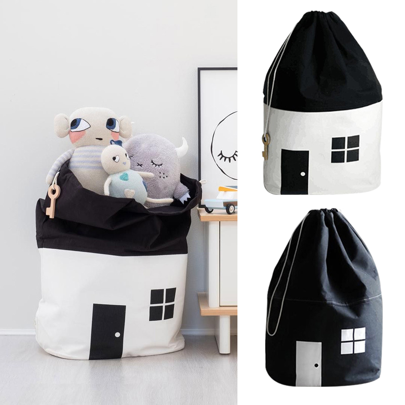 2019 Room Decoration Large Capacity Cute House Storage Bag Children Kids Toy Baby Cotton Canvas Toys Beam Port Pouch Home Decor