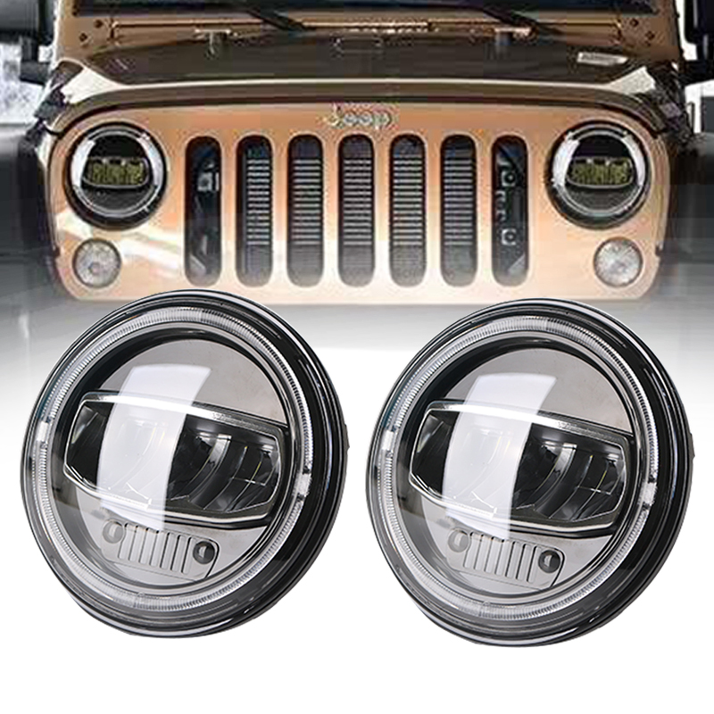 "7"" Inch Round Led Headlights DRL & Hi/Lo Beam & Amber Turn Light for Jeep Wrangler JK TJ LJ CJ Rubicon Sahara Unlimited Hummer"