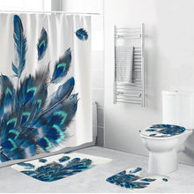 4PCS Shower Curtains summer style Series Non Slip Toilet Polyester Cover Mat Set Bathroom Shower Curtain(China)