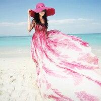 Бесплатная доставка 2019 Новая мода Цветочный принт Для женщин богемное шифона длиной макси рукавов пляжные Летние стильные платья градиент