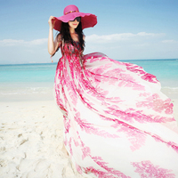 Free Shiping 2015 New Fashion Floral Print Women Bohemian Chiffon Long Maxi Sleeveless Beach Summer Style