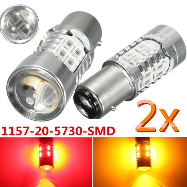 2PCS 1157 BAY15D 5730 LED Yellow Red Brake Turn Signal Indicator Light Bulb Lamp Parking Lights Auto Fog Lamps 12V