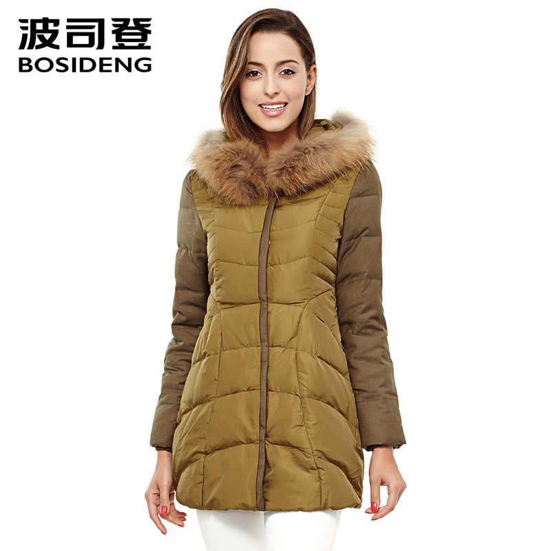 BOSIDENG women   down     coat   mid-long   down   jacket duck   down   parka real natural fur clearance sale high quality B1401136