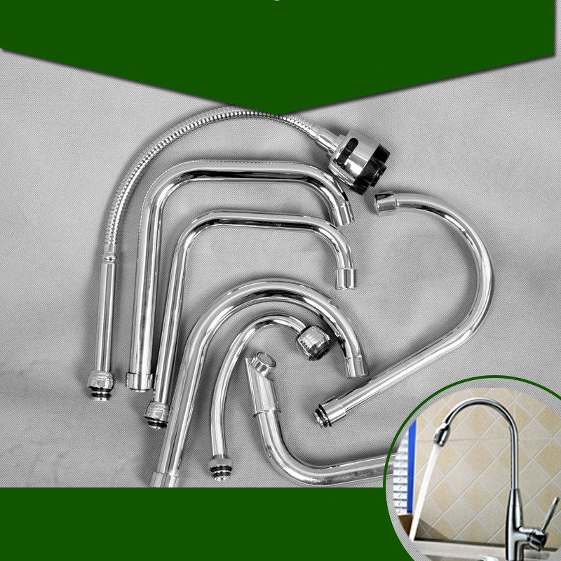 Kitchen faucet accessories tap water outlet pipe wash basin faucet universal hose kitchen faucet accessories kitchen faucet rotation rule shape curved outlet pipe tap basin plumbing hardware brass sink faucet