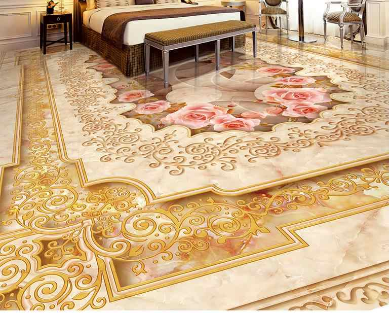 Luxury British style 3d stereoscopic floor wallpaper Marble parquet vinyl flooring wallpaper self adhesive  waterproof floor