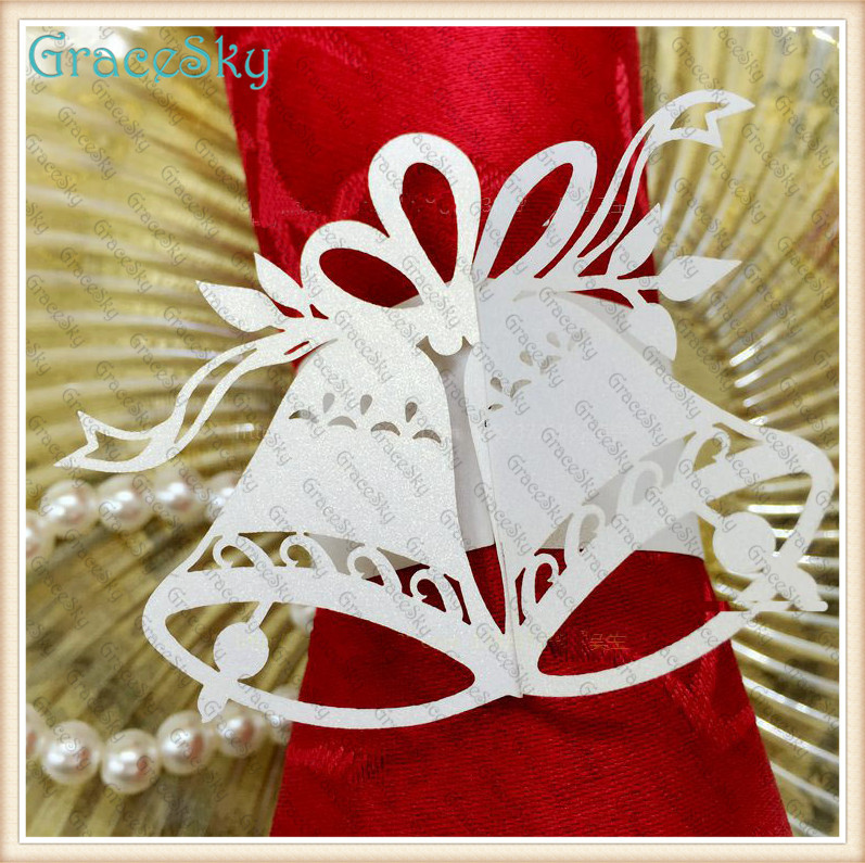 50xtowel Buckle Laser Cutting Christmas Tinkle Bell Wedding