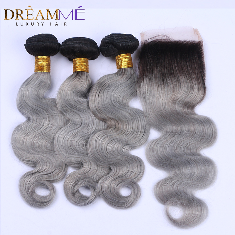 1b green human hair extension with lace closure (1)