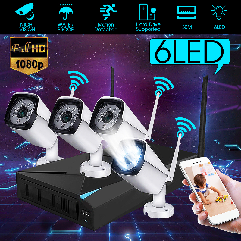 HD 1080P 4CH WiFi Wireless CCTV Video Surveillance System NVR Kits Indoor/Outdoor IP Cameras Motion Detection Waterproof IP66HD 1080P 4CH WiFi Wireless CCTV Video Surveillance System NVR Kits Indoor/Outdoor IP Cameras Motion Detection Waterproof IP66
