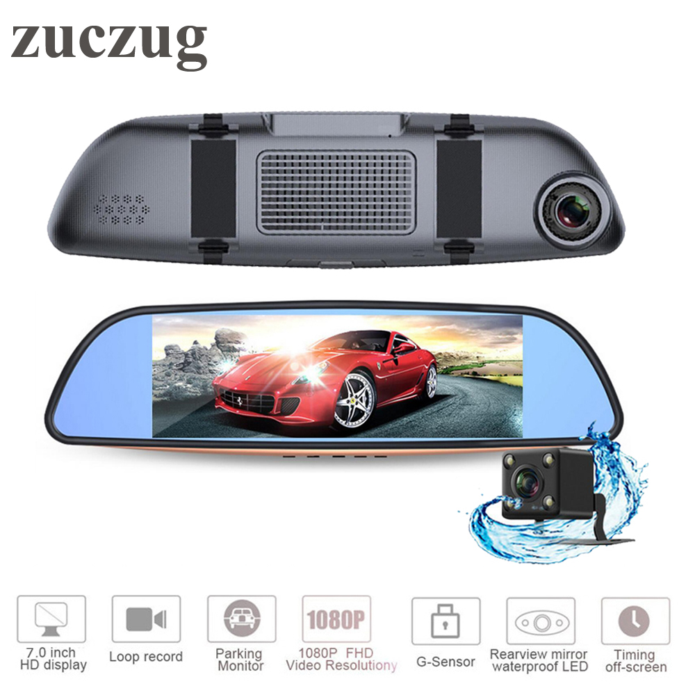 "ZUCZUG 7"" LCD Full HD 1080P Car Rearview mirror DVR camera Parking recorder Night Vision Car DVR Video Recorder Dual Cameras"