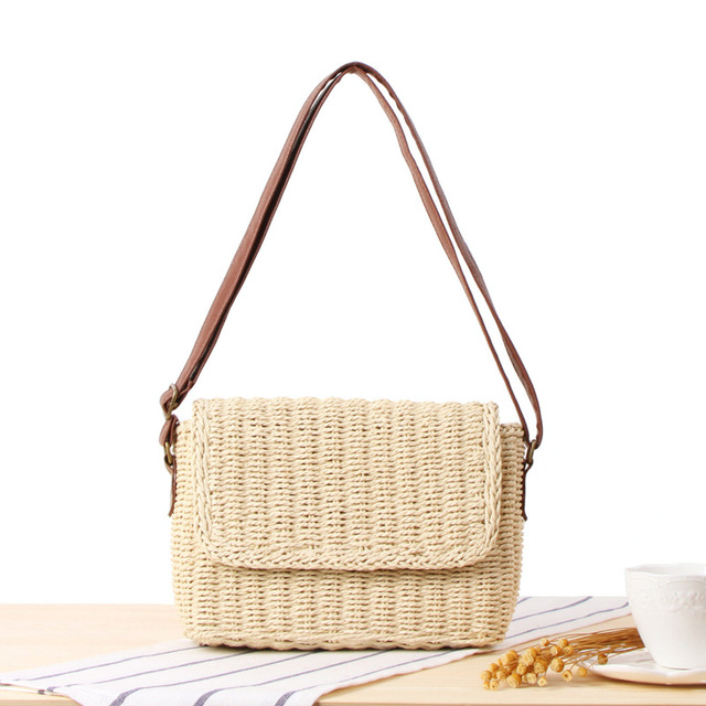 eca377fd97 2018 Casual Design she said ins Hot Straw Handmade Shoulder Leather Bag  Bohemian Rattan Messenger