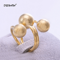 Free Shipping 24K Gold Plated Ring Fashion Jewelry Ring Nickel Free Copper Rhinestone Crystal Three Ball