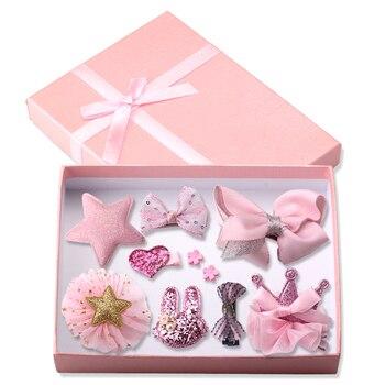 Zestaw 10 ozdób do włosów dla dziewczynki Korona Spinki Kokardka w ozdobnym pudełku