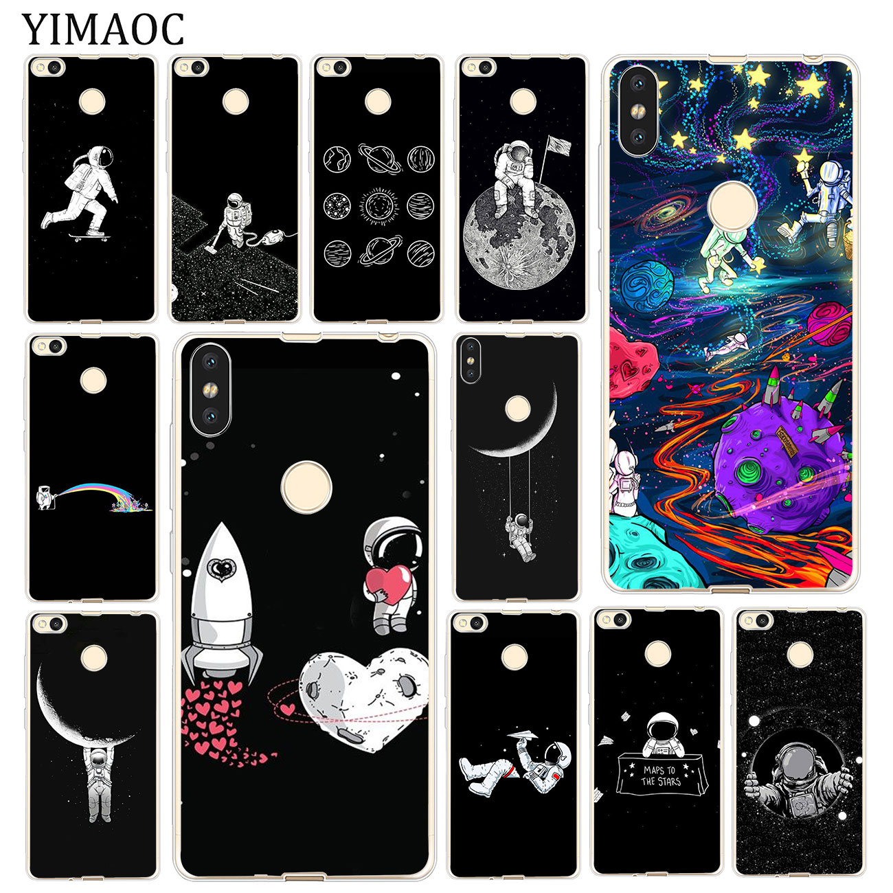Half-wrapped Case Phone Bags & Cases Babaite Black With White Moon Stars Space Astronaut Phone Case For Xiaomi Mi 8se 6 Mi8lite Note2 Note3 Mix2 Max2 Max3 Funda Big Clearance Sale