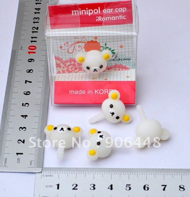 Wholesale White Mini Bear Earphone Jack Dust Plug For iPhone4_Shipping With Packing Material Need Pack Yourself_3pcs/lot